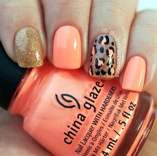 leopard nail art.