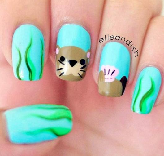 otter nail art