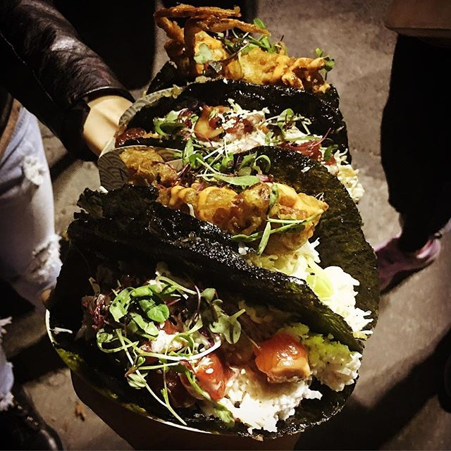 Delicious Nori tacos at the @626nightmarket . Thank you @Norigami for the delicious food.