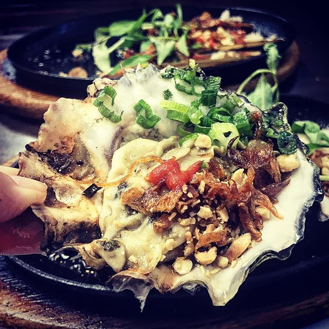 Garlic Buttered Oysters w/ Green Onions. Hot sizzling off the plate.