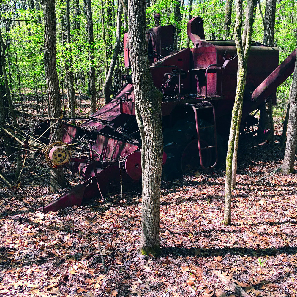 This old combine rests in the woods of a property that Glidewell sold in DeSoto County, Miss. It has been many years since theproperty was farmed.