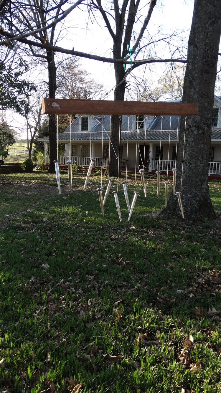 A cotton-spindle wind chime at the home of Mike and Lorri Williamson in Yalobusha County, Miss. Mike is a partner of Williamson Family Farms.  Photo by H&H staff
