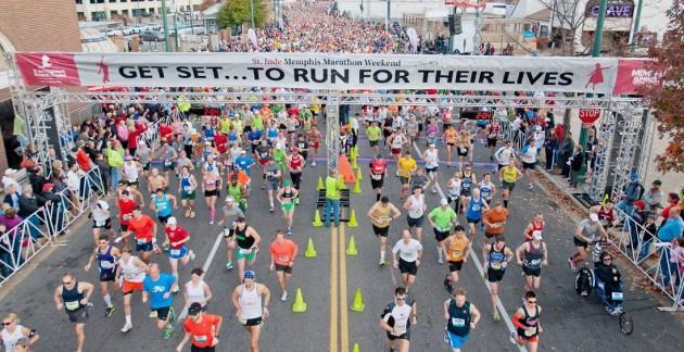 St. Jude's Memphis Marathon Weekend is December 1-2, 2017. Photos of past race weekends were retrieved from stjude.org
