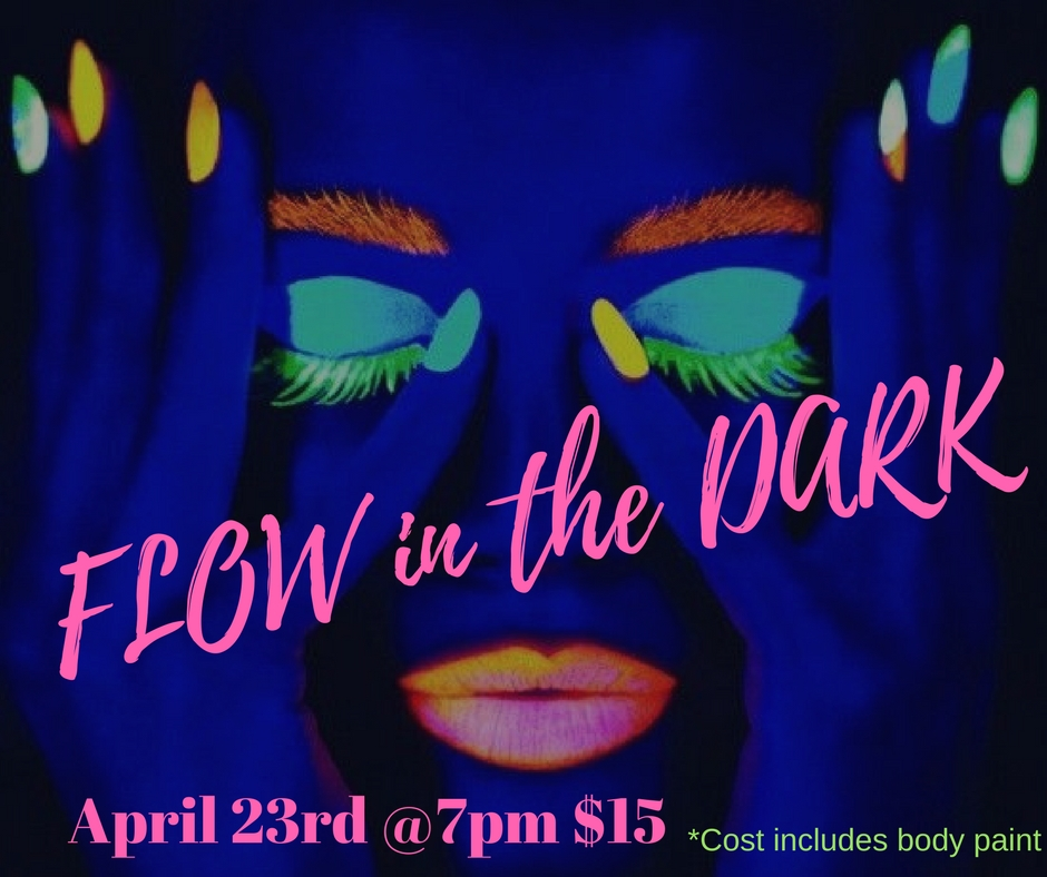$15 early bird sign up which includes the cost of body paint. $20 day of cover, we will be shakin awake our chakras, and moving to some pulsating beats. Don't miss Amber Costilow's incredible eye opening Buti Yoga class Experience in black light. This event will be out of this world! April 23rd, sign ups are available on our website. Reserve your spot today.