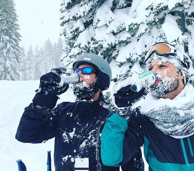 Fresh powder, and a couple of post wipe-out beers.
