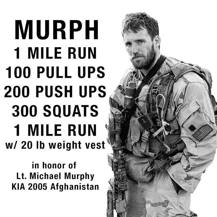 "May 27, 2017 - 9:00 A.M.                          The Murph Challenge - ""Murph"" is classic CrossFit workout known as a Hero WOD. Hero WOD's are made by CrossFit to honor the men and women that have fallen in the line of duty. This one is specifically to honor Navy Lieutenant Michael Murphy, who was killed in action in Afghanistan on June 28th, 2005."