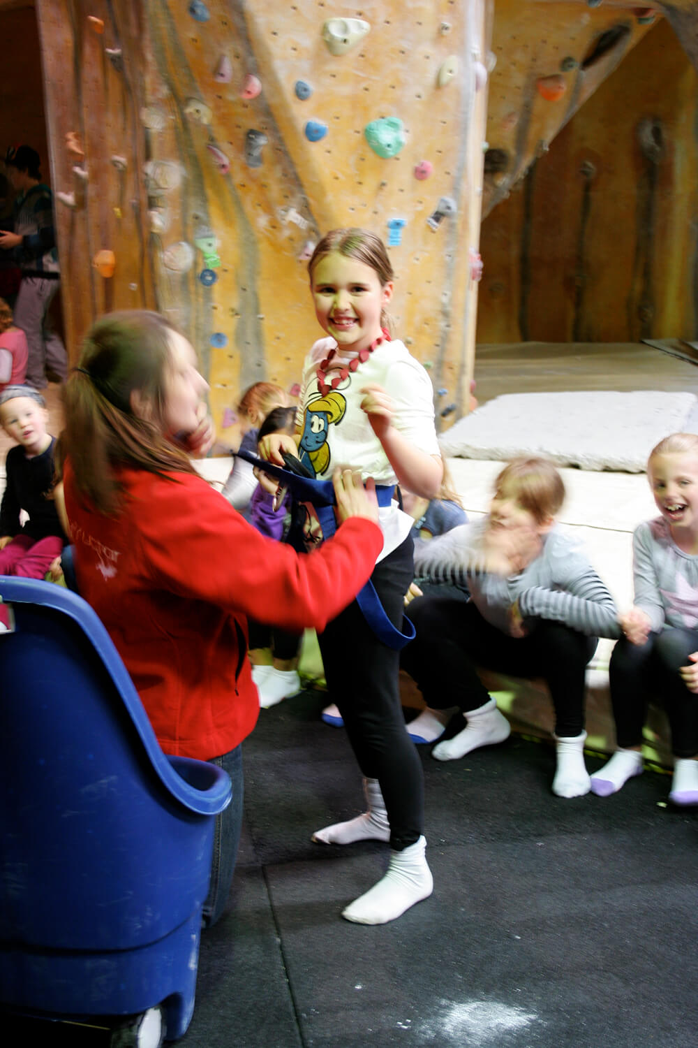 Indoor rock climbing action