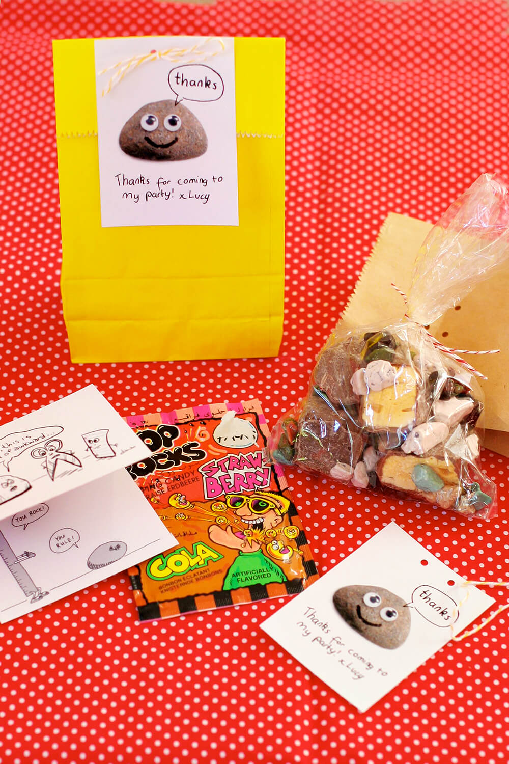 We had A LOT of fun putting together the party favour bags! Rock candy, honeycomb, rock jokes and pop rocks.
