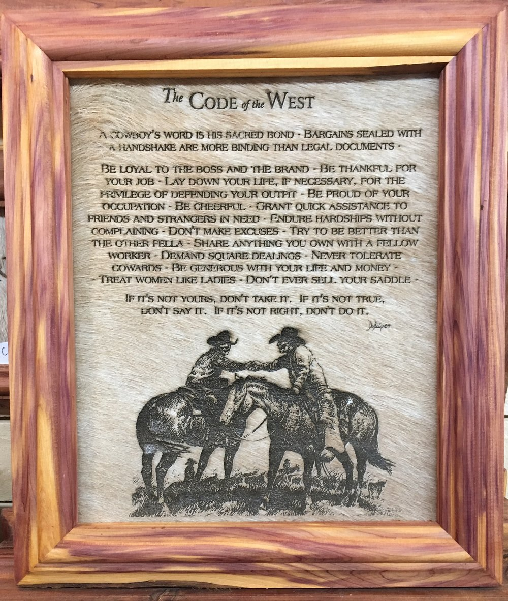 The Code of the West 10x12 — Old West Cedarmill
