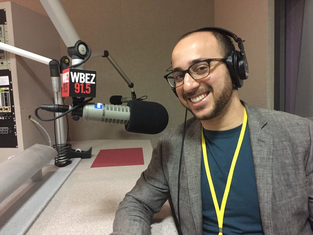 Bassel at WBEZ in Chicago, IL interviewing with Marco Werman on PRI The World.