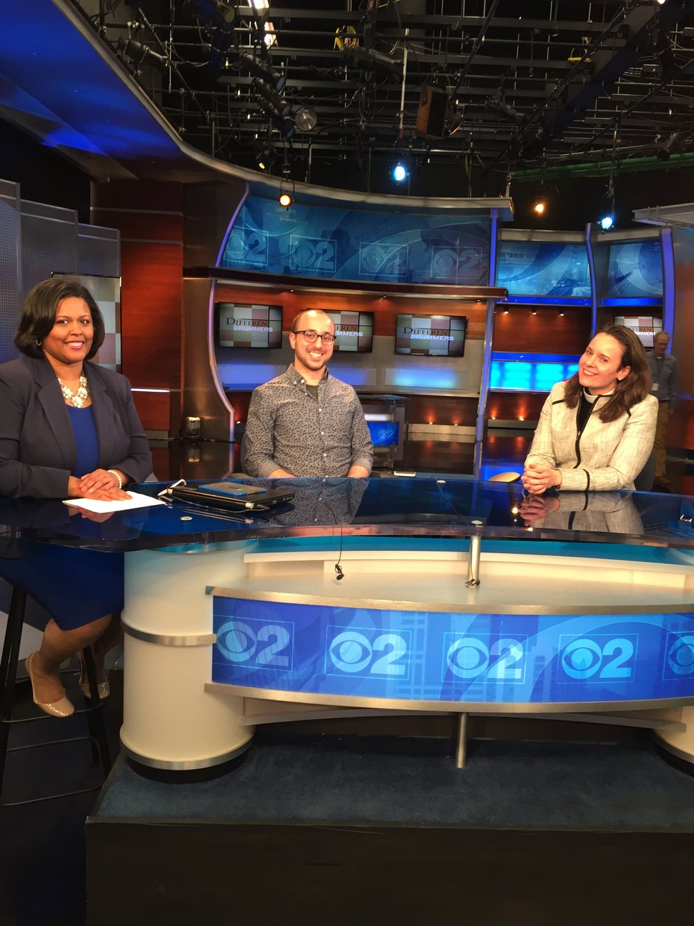 Bassel interviewing at CBS Chicago for Different Drummers discussing the humanitarian crisis in Syria.