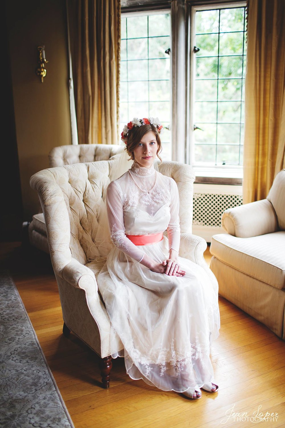 Indianapolis, Indiana // Originally purchased and worn by my mom and aunt. I up-cycled the dress and wore it for my wedding day. Belt designed and created by Koledon Lambright.  August 2014