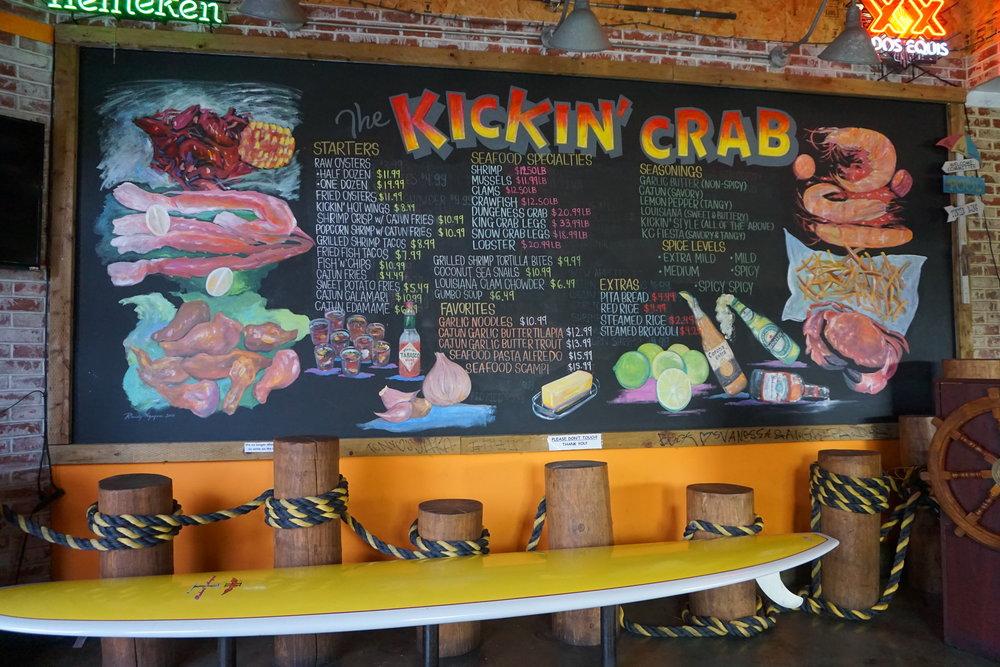 Kickin' Crab Chalkboard Menu