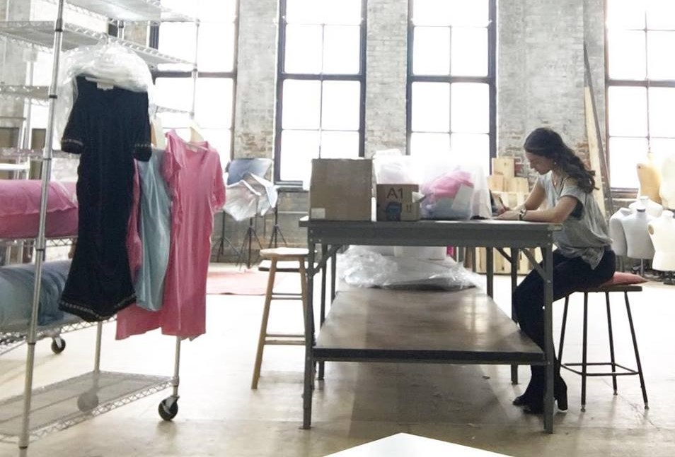 Owner/Design, Tiffany at the dress manufacturer in Chicago's Fulton Market district.
