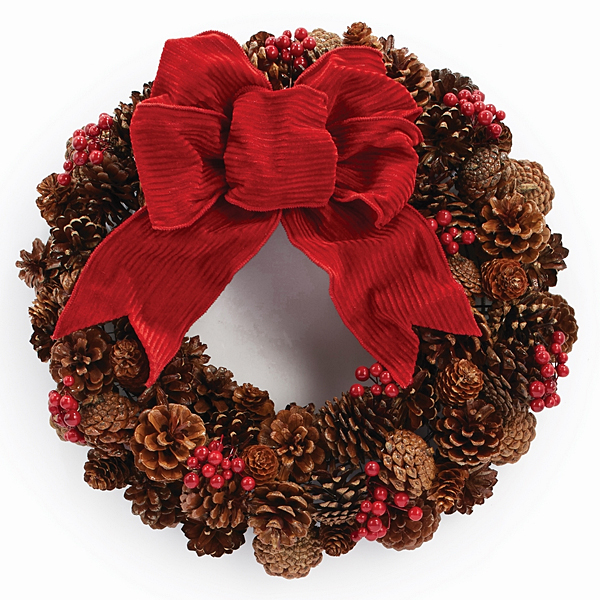 Pinecone & Red Berry Wreath -