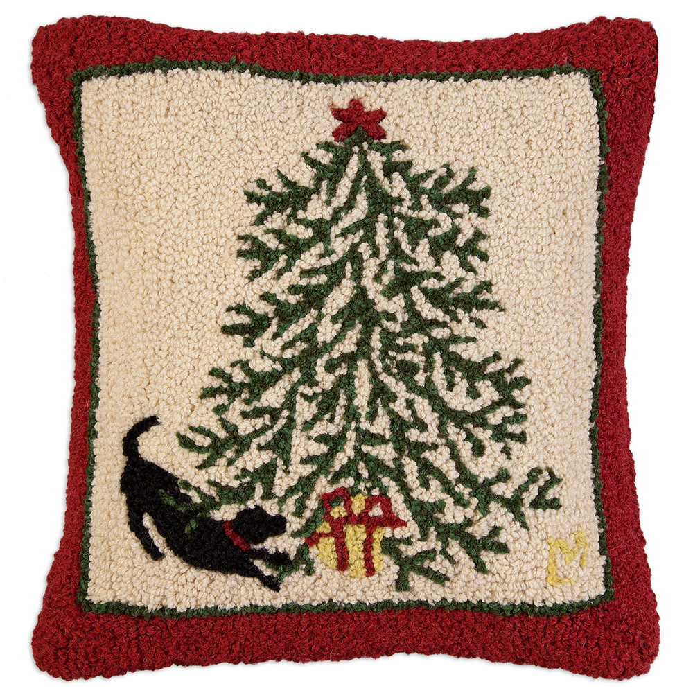 Black Lab Present Under the Tree Wool Hooked Pillow -