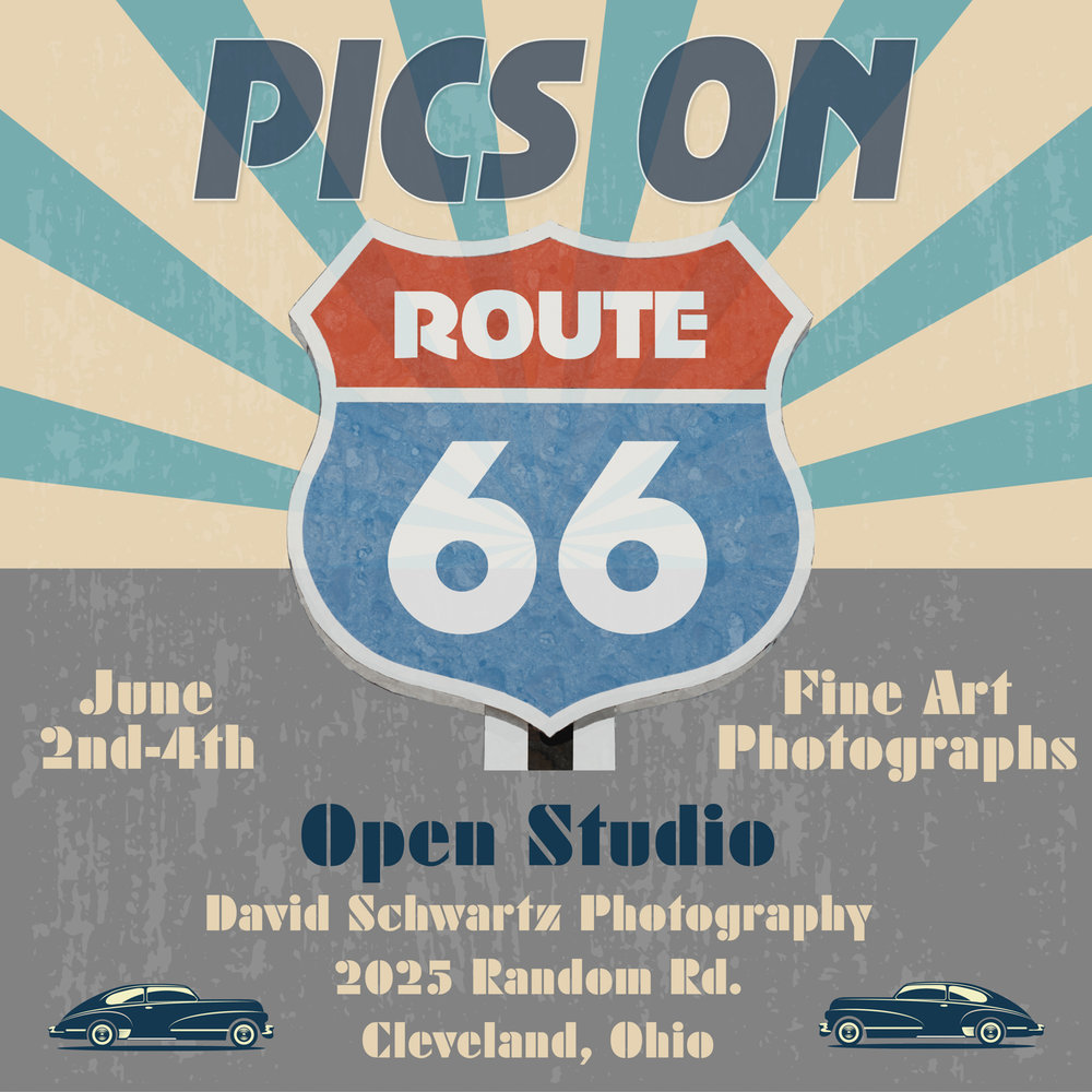 Show flyer for The Pics On Route 66 Art Exhibition.