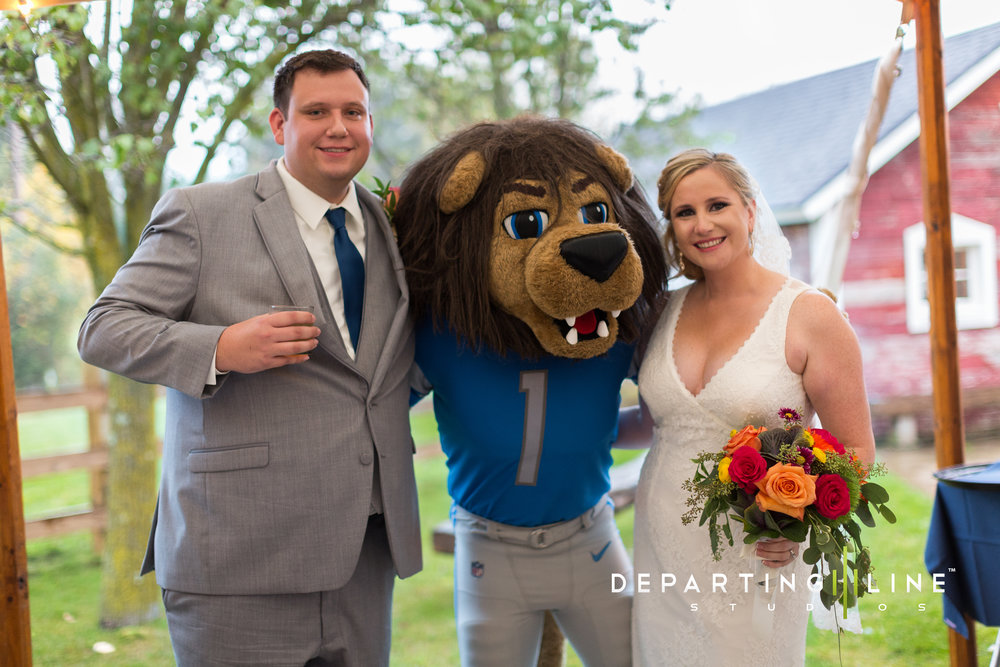 Detroit Lions Roary at wedding reception