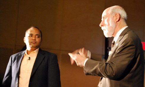 In a plenary conversation with Internet pioneer Vint Cerf at the Future Leaders Forum. Photo Courtesy:Kristen MacCartney