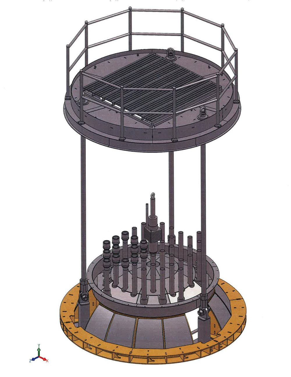 A screen shot of the mock-up reactor head and service platform.