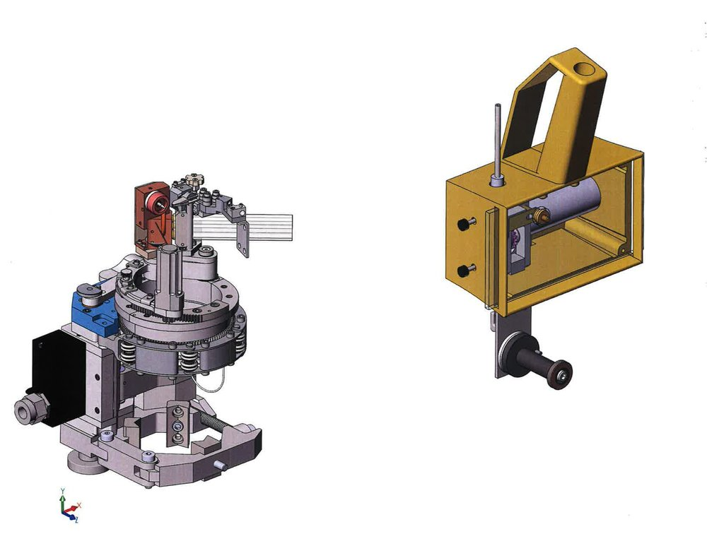 The E-head (left) and wire feeder (right).