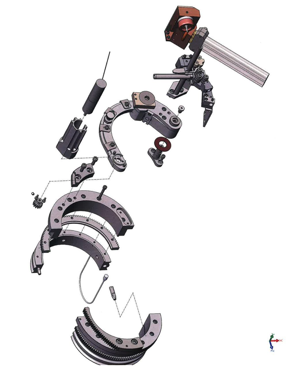 An exploded view of the rotor assembly.