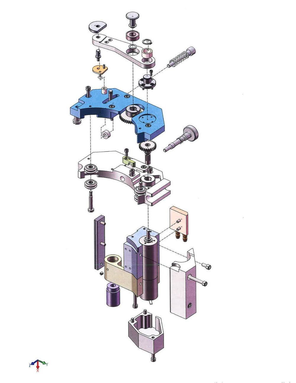 An exploded view of the drive assembly.