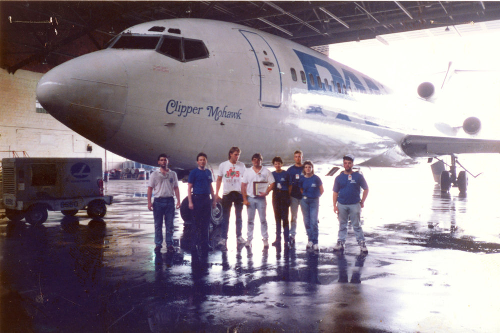 A pan am shuttle B-727-200 in the Eastern airlines hangar at dca, 1990