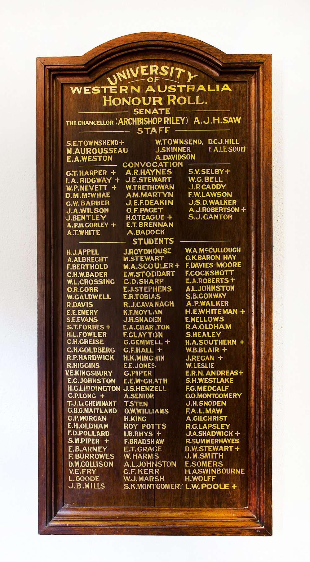 Roll of Honour board - UWA.JPG