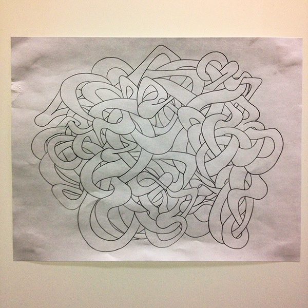 "Preliminary drawing for Mural.  Graphite on Paper.  8.5"" x 11"""