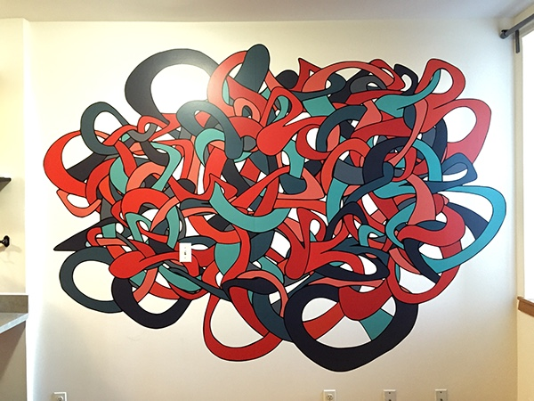 "Mural printed on vinyl with matte lamination.  114"" x 100"""