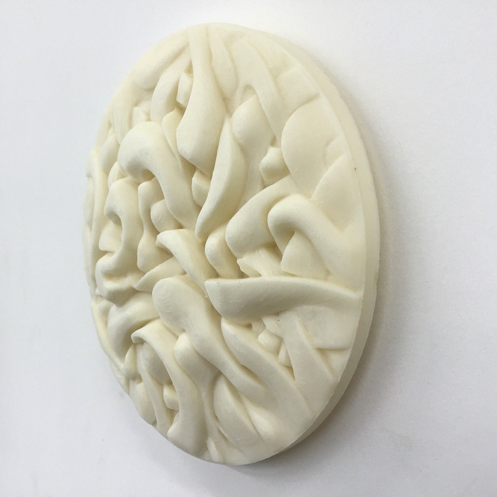 3D Printed Relief Sculpture based off of sketch.