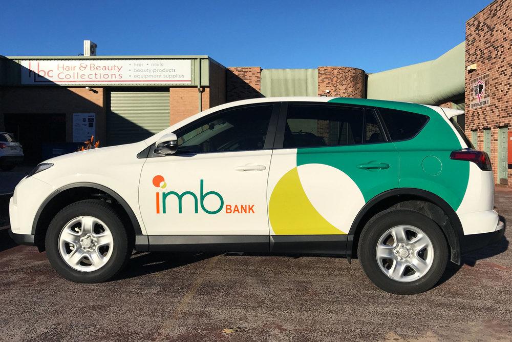 IMB Bank car wrap vehicle graphics. Signage by Visual Energy