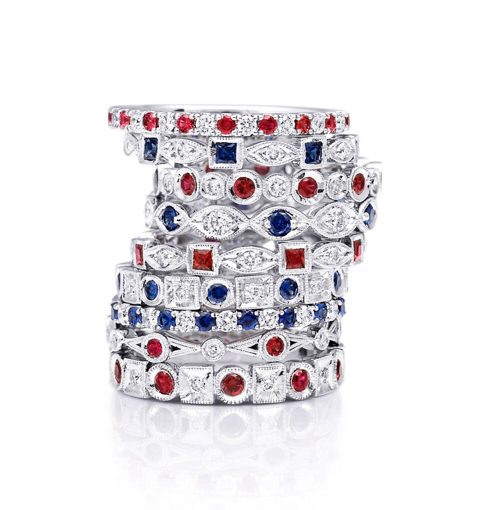 COAST  Stackable Rings Blue Sapphire and Ruby with Diamonds in White Gold
