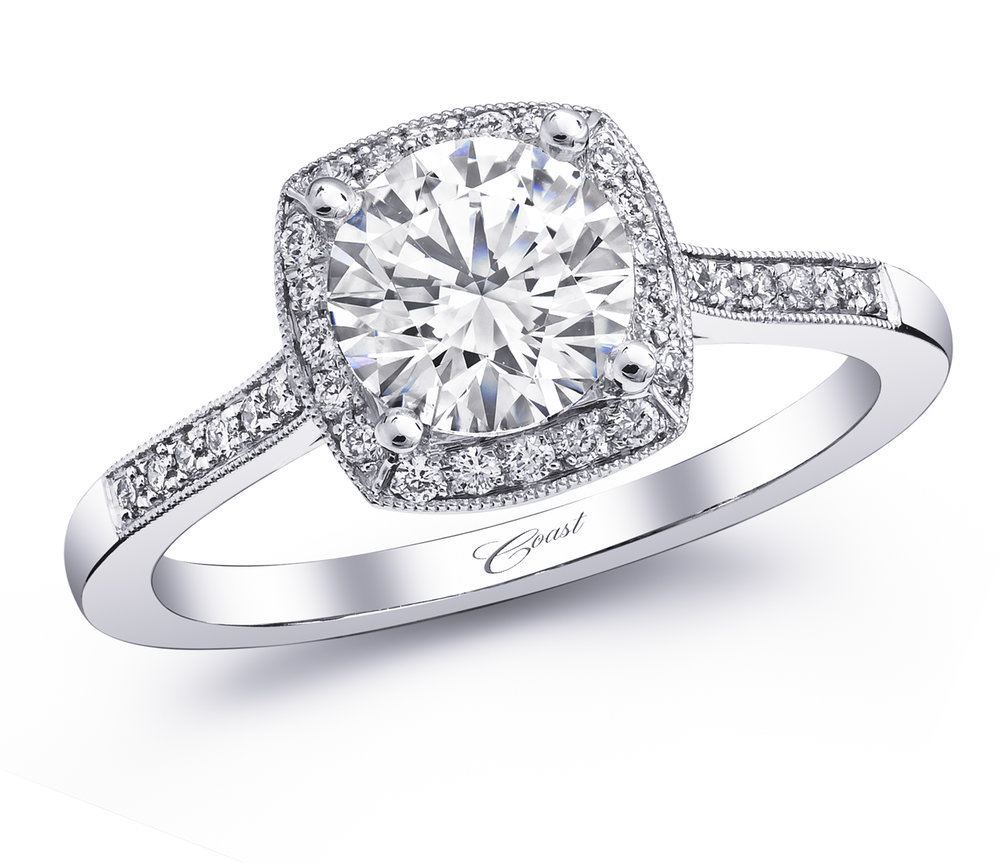 COAST  Cushion Cut Diamond Engagement Ring with Side Diamonds in 14K 18K White Gold