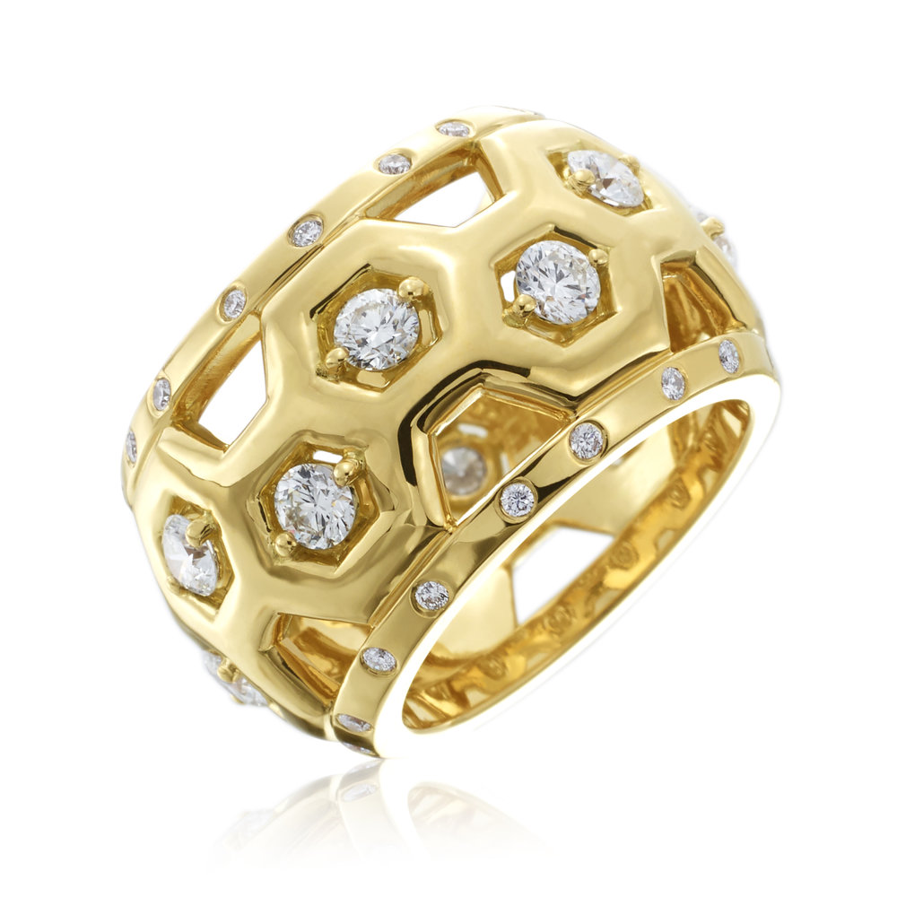 GUMUCHIAN  B Collection 18K Gold Ring with Diamonds