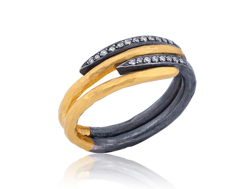 LIKA BEHAR  Oxidized Silver and Gold Ring with Diamonds