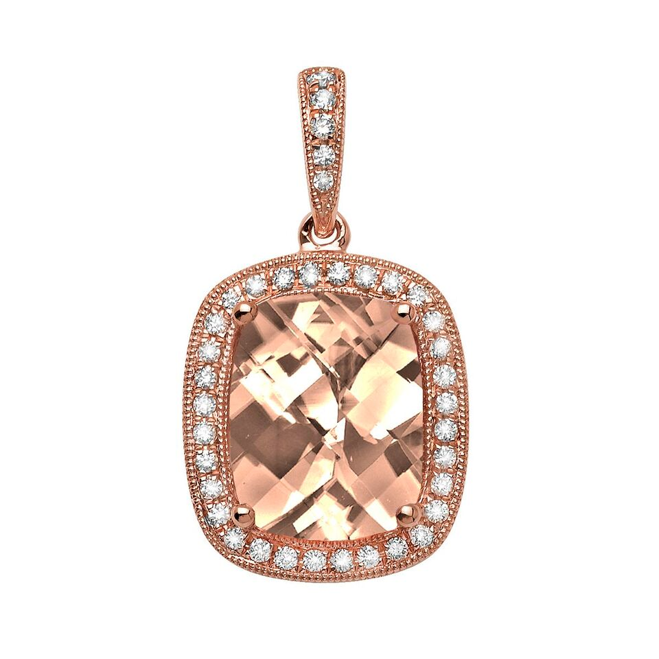 Color  Morganite Pendant in 14K Rose Gold with Diamonds