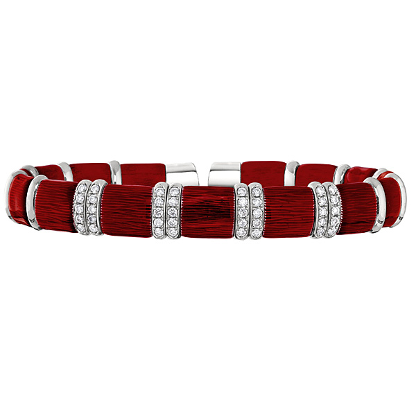 THE HENDERSON COLLECTION  White Gold and Enamel Bracelet with Diamonds
