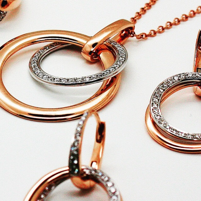 18K Rose Gold Necklace and Earrings with Diamonds