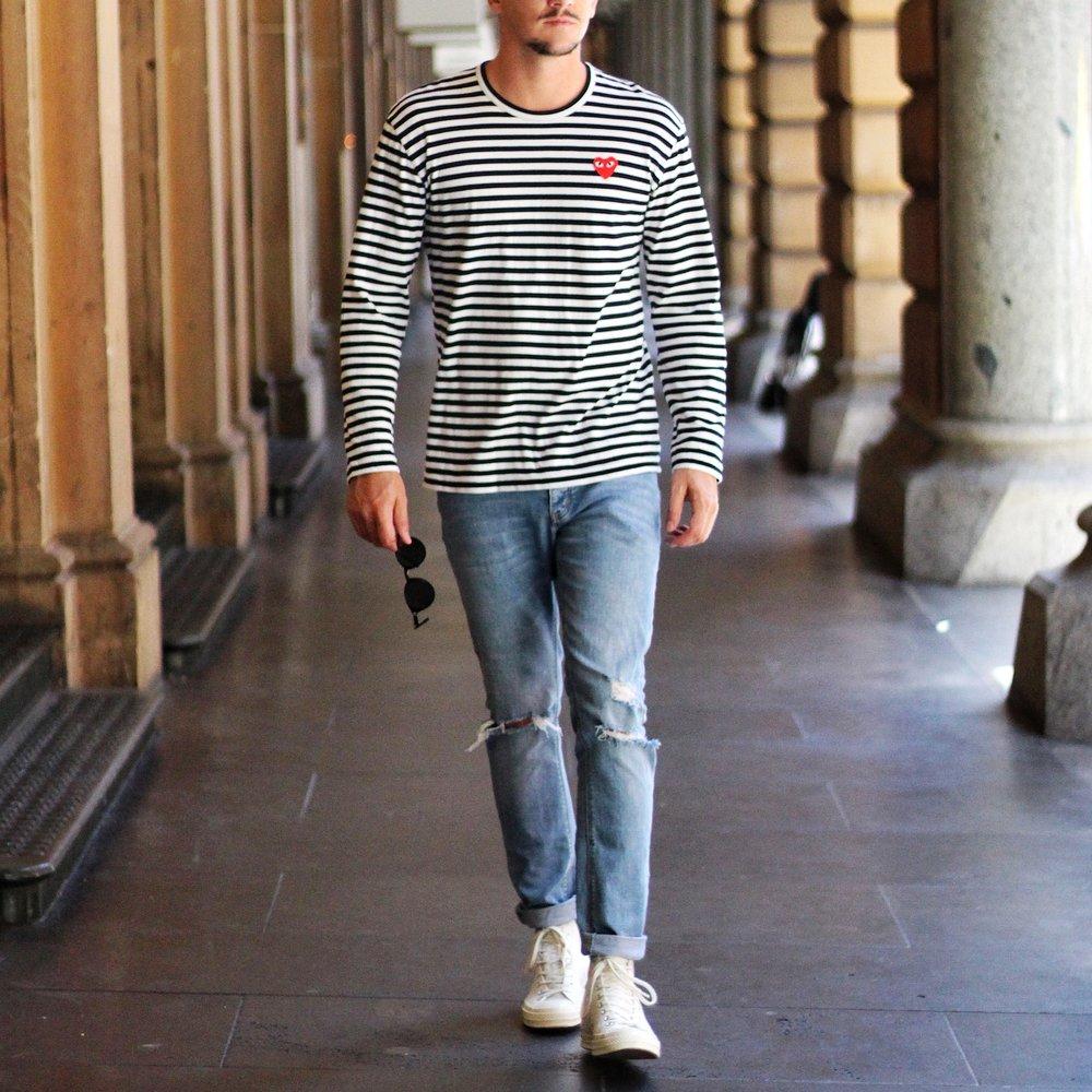 T-Shirt -  Comme Des Garcon Play   Jeans - Abrand Jeans   Kicks -  Comme Des Garcon Play