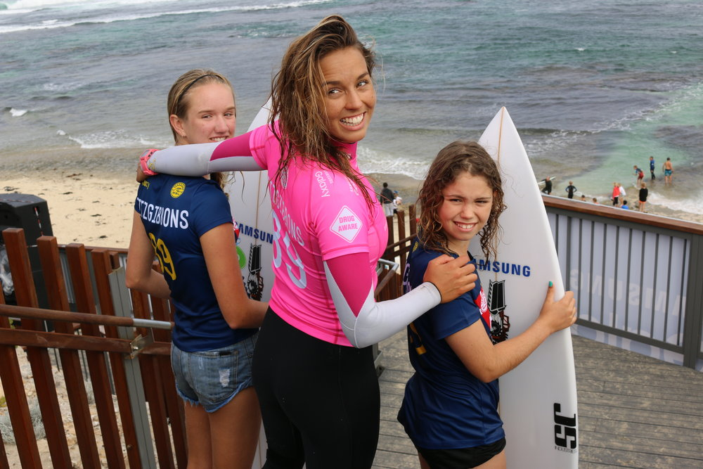 Aussie golden girl Sally Fitzgibbons posing for a photo post heat win in the 2016 Drug Aware Margaret River Pro