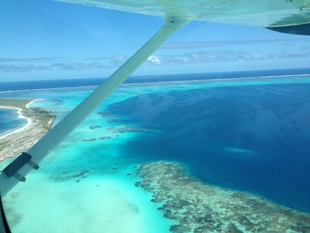 Tourqoise water as far as the eye can see during a fly over the Abrolhos Islands