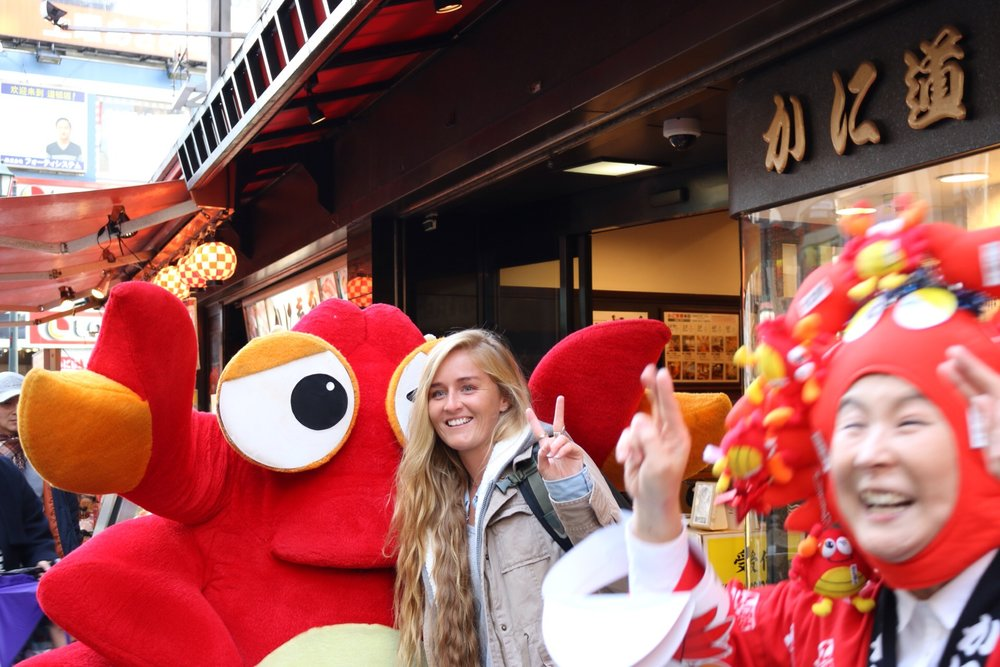 Dotonbori in Osaka is mayhem in the evening with the famous crab restaurants a tourist favoutire