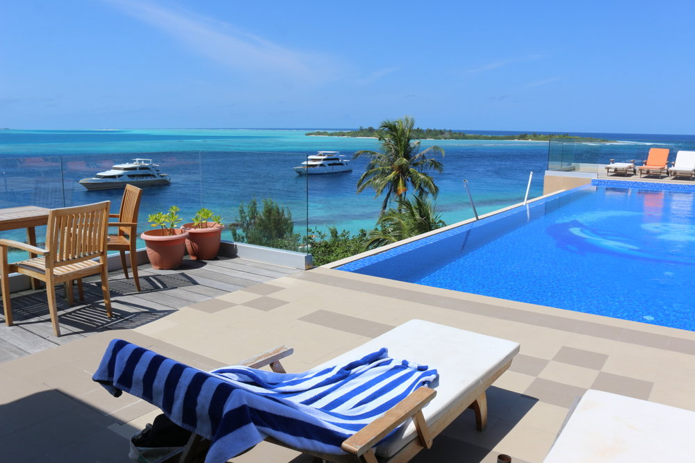 The stunning view from the rooftop pool at Season Paradise hotel on Thulusdhoo Island.