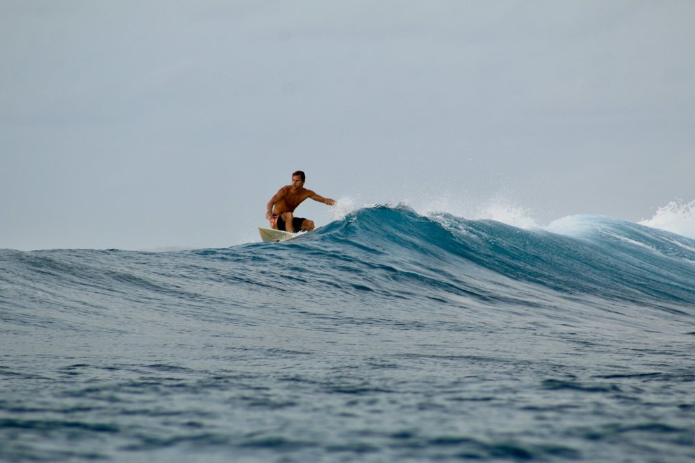There's always plenty of quality swell on offer on Thulusdhoo Island, with Chickens surf break just across the channel.