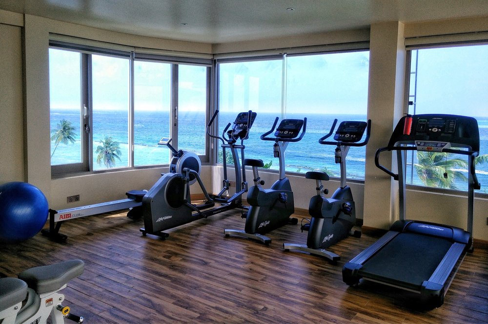 For the active travellers who don't want to miss a workout while on holidays, Season Paradise offers a roof top gym complete with free weights and exercise machines all with breaktaking views of the ocean.