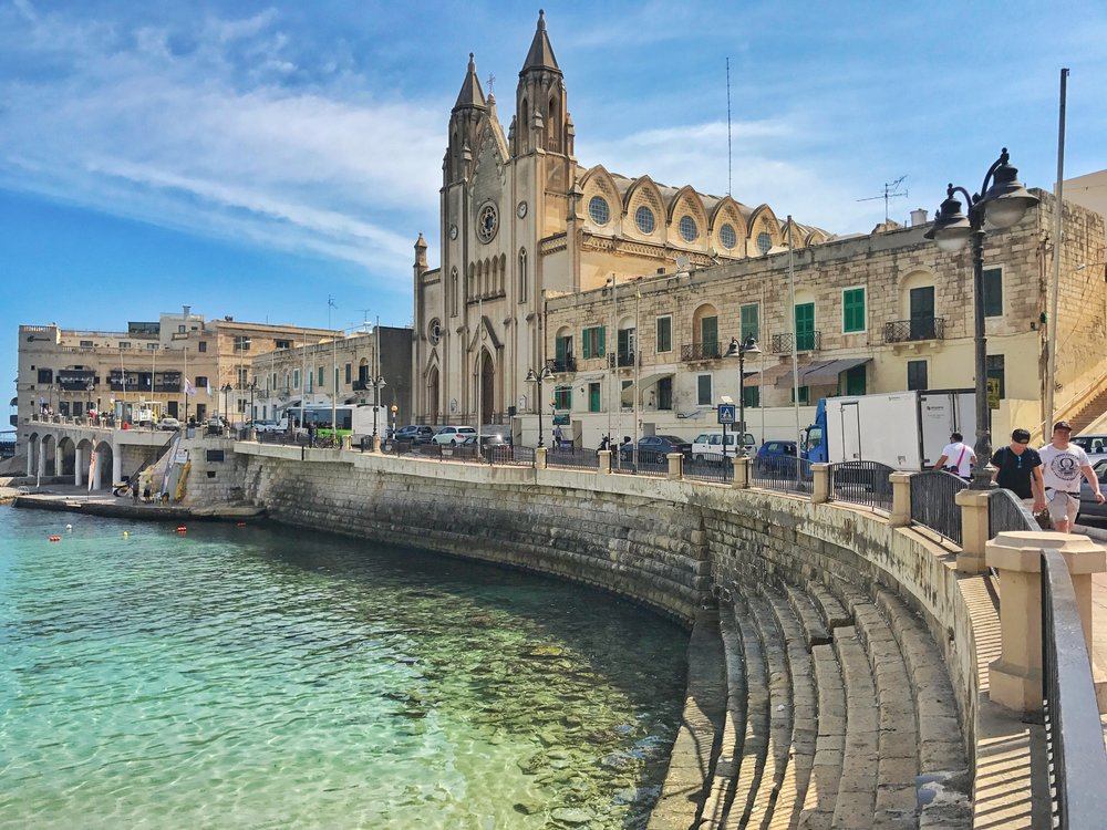 Beautiful ocean-side cathedrals such as this in Spinola Bay are fairly common in Malta, with 359 churches in Malta.  Image: @mermaid_tales_adventure