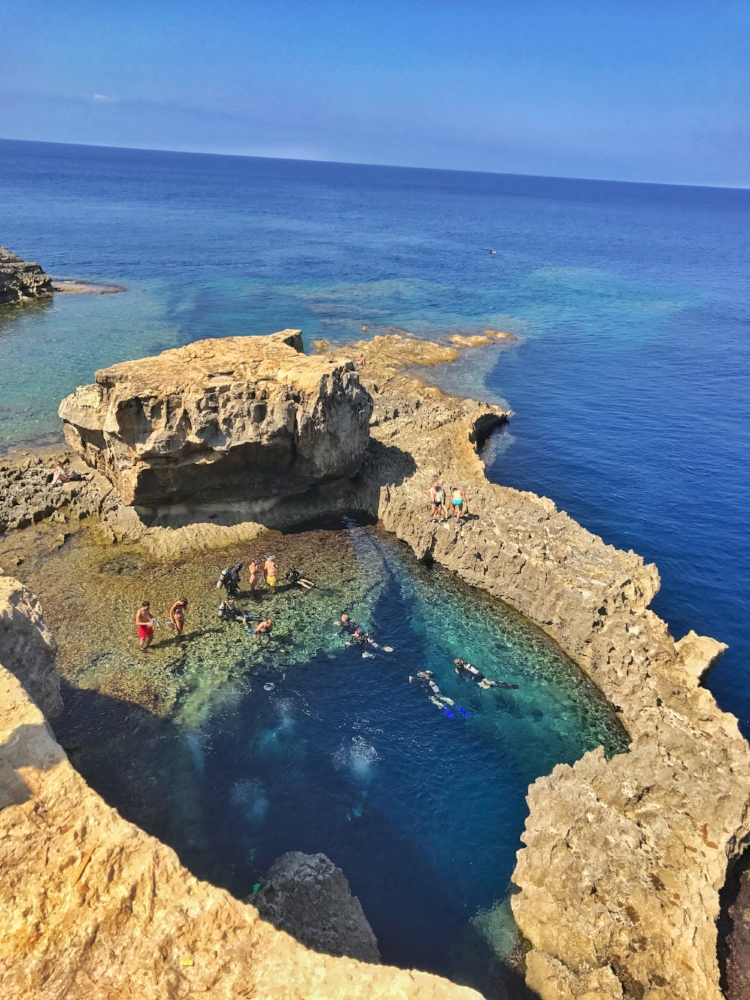 The Blue Hole on Gozo is an amazing natural phenomena and a hotspot for divers and swimmers. Image: @mermaid_tales_adventure