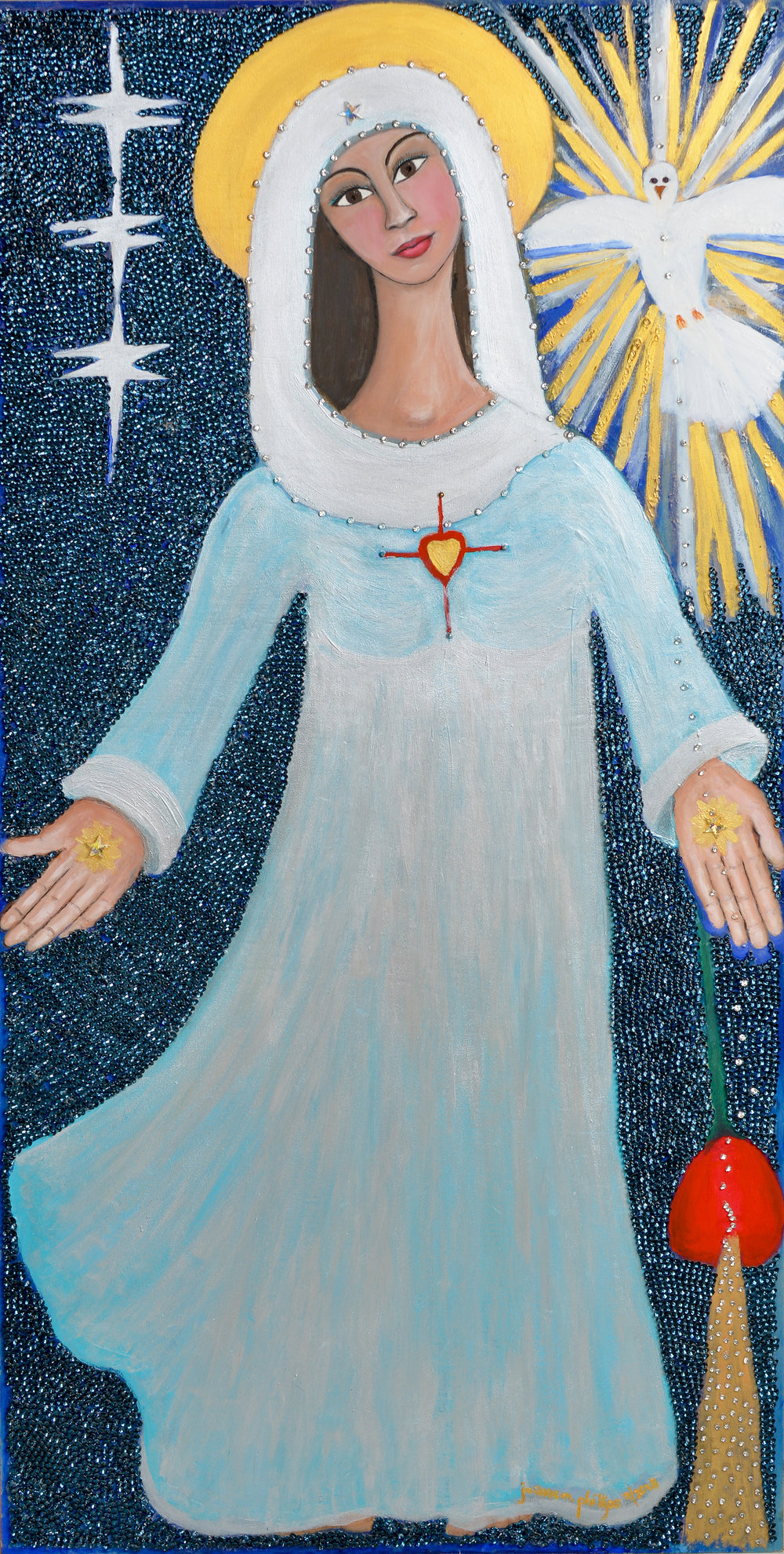"Blessed Mother with Holy Spirit, 24"" x 48"" Acrylic, gouache and Swarovski crystals on wood."